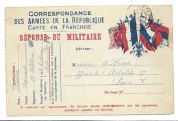 Correspondance Militaire Carte En Franchise Réponse Du Militaire Trésor Et Postes 34   . .G - Guerre 1914-18