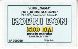 3784  ROBNI  BON  500  DEUTSCHE MARK    RR - Yougoslavie