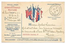Correspondance Militaire Carte En Franchise  Trésor Et Postes168   . .G - Guerre 1914-18