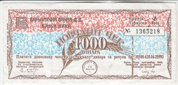 3785    BON    1000 DINARA     RR - Yougoslavie