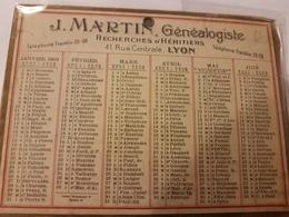 CALENDRIER 1929 J MARTIN GÉNÉALOGISTE LYON - Kalenders