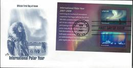 USA.  Scott # 4123a-b, FDC Souvenir Sheet. Intl. Polar Year. Joint Issue Of 2007 - Joint Issues