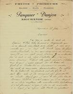 1931 LETTRE COMPLETE ET SIGNEE PASQUIER DANJON Fruits Primeurs Aigurande Indre VOIR SCANS - France