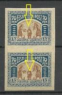 Estland Estonia 1920 Michel 22 In Pair ERROR Variety E: 4 MNH - Estonie