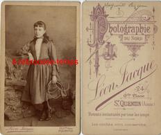 CDV-jolie Fillette Identifiée Avec Corde à Sauter-photographie Du Nord- Léon Jacque à Saint Quentin (rare) - Old (before 1900)