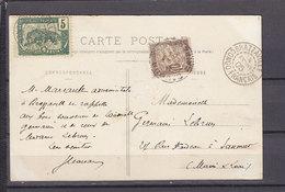 CARTE POSTALE DU CONGO TAXEE EN FRANCE - Congo Français (1891-1960)