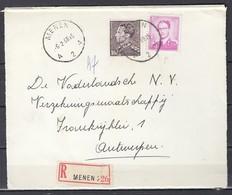 Aangetekend Briefstuk Van Menen A2A Naar Antwerpen - 1936-51 Poortman