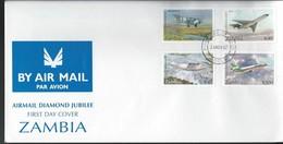 Zambia. Scott # 578-81 FDC. Airmail Service 75th Anniv. 1992 - Zambia (1965-...)