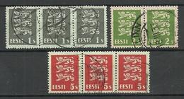 ESTLAND Estonia 1928 Michel 74 - 75 & 77 As Stripes O - Estonia