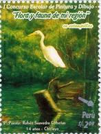 Lote P94a, Peru, 2007, Sello, Stamp, Flora Y Fauna De Mi Region, Ave,bird, Child Paint - Perú