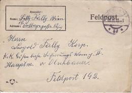 Feldpostbrief Wien Nach K.k. Eisenbahn Sicherungs Kompanie II Hptm V. Olschbauer FP 192 - 1918 (39614) - 1850-1918 Imperium