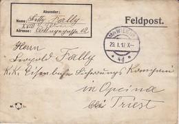 Feldpostbrief Wien Nach K.k. Eisenbahn Sicherungs Kompanie Opcina Bei Triest - 1917 (39615) - 1850-1918 Imperium