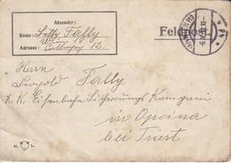 Feldpostbrief Wien Nach K.k. Eisenbahn Sicherungs Kompanie Opcina Bei Triest - 1917 (39616) - 1850-1918 Imperium