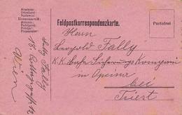 Feldpostkarte Wien Nach K.k. Eisenbahn Sicherungs Kompanie Opcina Bei Triest - 1916 (39618) - 1850-1918 Imperium