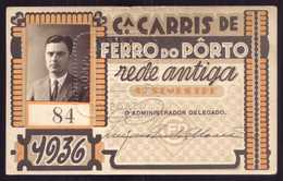 1936 Passe COMPANHIA Cª CARRIS De FERRO Do PORTO Rede Antiga 1º Semestre De 1936. Pass Ticket TRAM Portugal - Abonnements Hebdomadaires & Mensuels