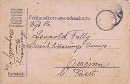 Feldpostkarte Wien Nach K.k. Eisenbahn Sicherungs Kompanie Opcina Bei Triest - 1917 (39619) - 1850-1918 Imperium