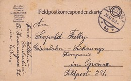 Feldpostkarte Wien Nach K.k. Eisenbahn Sicherungs Kompanie Opcina Bei Triest FP 381 - 1916 (39620) - 1850-1918 Imperium