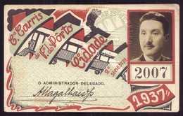 1937 Passe COMPANHIA Cª CARRIS De FERRO Do PORTO Rede Antiga 2º Semestre De 1937. Pass Ticket TRAM Portugal - Abonnements Hebdomadaires & Mensuels