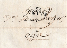 Janv.1812 - CETTE (34) - Lettre BOUSQUET L'Ainé à BOUSQUET & Fils & Cie à Agde Relative à Une Ordonnance Du Tribunal - Documents Historiques
