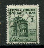 Italy Social Republic 1944 3L Basilica Issue #31 - 4. 1944-45 Social Republic