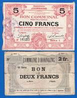Hornaing  59/1347 + Le  2  Fr   2  Billets - Bons & Nécessité