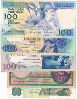 NOTAS - 5 EXEMPLARES  DE 20$00 (2) E 100$00 (3) - Portugal