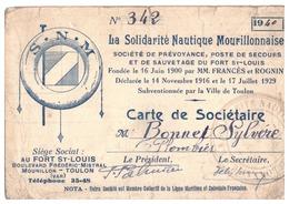 CARTE DE SOCIETAIRE- LA SOLIDARITE NAUTIQUE MOURILLONNAISE  N° 342 -1940 AU FORT ST LOUIS - Maps