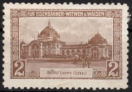 Train Station LUZERN Switzerland Railway Widow Orphan Aid Austria KuK Charity LABEL CINDERELLA VIGNETTE - Eisenbahnen