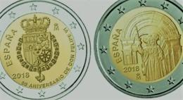 Espagne 2018 : Duo Des 2€ Commémoratives 'Felipe VI' Et 'St Jacques De Compostelle' (UNC) - Disponible En France - España