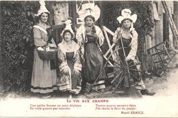 """Cartolina, CPA Carte Postale, Postcard. La Vie Aux Champs. """"Une Petite Femme Ne Peut Deplaire..."""" - Personnages"""