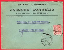 --  LETTRE à ENTÊTE - EPICERIE - PRIMEURS - JACQUES CORNELIO à LA MURE (Isère) -- - Food