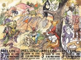 """3 MELUN MARQUE PAGE MARQUE PAGES 4 Marques Pages Puzzle, Bookmark, Signet, Illustrateur CARMONA """"FABLES DE LA FONTAINE"""" - Segnalibri"""