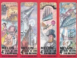 "MELUN MARQUE PAGE  MARQUE PAGES LOT DE 4 Marques Pages, Bookmark, Signet, Illustrateur CARMONA ""Jules Vergne - Bookmarks"