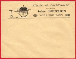 -- LETTRE à ENTÊTE - ATELIER DE CHARRONNAGE- JULES BOUCHON à YGRANDE (Allier)  -- - France