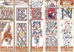 MELUN MARQUE PAGE MARQUE PAGES LOT DE 5 Marques Pages Puzzle, Bookmark, Signet, Illustrateur NICOLE LECLERQ - Bookmarks