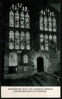 Ref 1277 - Early Postcard - Shakespeare Bust & American Window - Stratford-upon-Avon Church - Warwickshire - Stratford Upon Avon