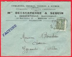 -- LETTRE à ENTÊTE - Couleurs-Vernis- Verres à Vitres - Mon DESSERTENNE & SEGUIN à MOULINS (Allier)  -- - Droguerie & Parfumerie