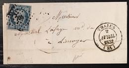LETTRE 1851 Ceres N°4  25c Bleu Pc 705  + Dateur Type 14 De Chalus Pour Limoges Tres Frais Signé Baudot - 1849-1850 Ceres