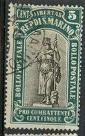 San Marino 1918 5c Statue Of Liberty Issue #B4 - San Marino