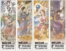 """MARQUE PÄGE, MARQUE PAGES LOT DE 4 Marques Pages, Bookmark, Signet, Illustrateur CARMONA """" SALON DU LIVRE DE MELUN"""" - Bookmarks"""