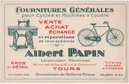 TOURS (37) CARTE De VISITE. ALBERT PAPIN. FOURNITURES GENERALES Pour CYCLES Et MACHINES à COUDRE - Visiting Cards