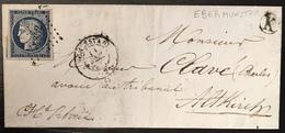 LETTRE 1851 Ceres N°4 25c Bleu Fonçé De Schletstadt PC 2852 + Cachet K De Ebermunster Pour Altkirch - 1849-1850 Ceres