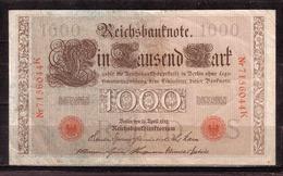 86d * REICHSBANKNOTE * 7156044 K VOM 21.4.1910  * EIN TAUSEND MARK/1000 * GEBRAUCHT ** !! - [ 2] 1871-1918 : Empire Allemand