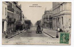 AUTUN--1916--Avenue De La Gare ( Animée , Attelage ) ..pas Très Courante ...à Saisir - Autun