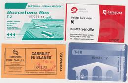 1353(5) ESPAÑA, SPAIN, ESPAGNE, SPAGNA. 4 Tickets / Billets: Barcelona-Girona Airport, Blanes, Manresa, Zaragoza. - Titres De Transport