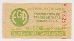 1354(5) GUATEMALA. Vintage Bus Ticket. / Ancien Billet De Bus. / Antico Biglietto Di Autobus.. - Bus
