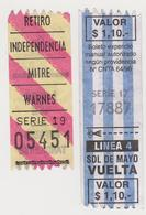 1354(6) ARGENTINA, Buenos Aires. 2 Billetes Transporte Urbano. / 2 Tickets Urban Transport. / 2 Billers Transport Urbain - Billetes De Transporte