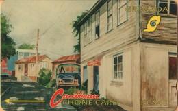 Grenada - GPT, GRE-4D, Street Scene Gouvyave (Without Logo), 4CGRD, 40 EC$, Drawings, Roads, 5,250ex, 1992, Used As Scan - Grenada