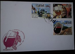 O) 2002 CUBA-CARIBBEAN-SPANISH ANTILLES CIGAR SMOKERS-WINE BOTTLES AND GLASSES-PRODUCING AREAS-BARRELS-VINEYARD, EXPO VI - FDC