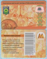 UKRAINE Kiev Kyiv Metro Metropolitan Subway Underground Plastic Rechargeable Card Ticket 2012 - Abonnements Hebdomadaires & Mensuels